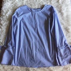 Dalia Blue White Stripe Long Sleeve Ribbon Blouse